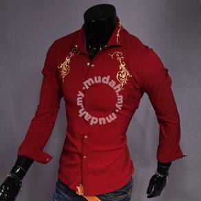 MF1805 Golden Embroidery Men's Long Sleeved Shirts