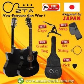 Zta 38 inch acoustic guitar black cutaway