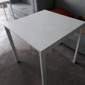 White Square Steel Leg Table TG426