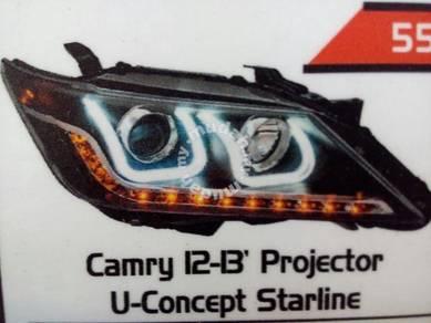 Toyota camry 12 to 15 projector head lamp u design