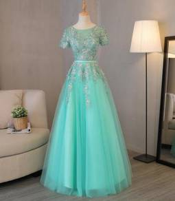 Mint green wedding bridal prom dress gown RB0424