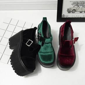 Velvet black maroon red green high heels creeper