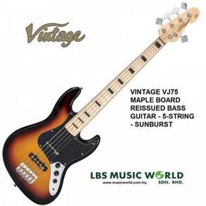 Vintage vj75 maple board reissued bass guitar - 5-