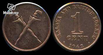Malaya n British Borneo 1 Cent 1962 bu unc