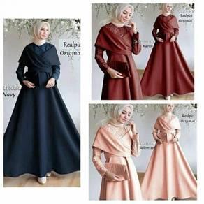 Muslimah long sleeve Miranda maxi dress blue peach