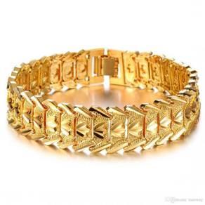 Gold Plated Wide Men's Cuff Link Bracelet