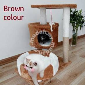 Brown Cat House Climbing Platform Sangkar Kucing