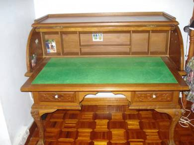 Roll-top British Colonial teak desk