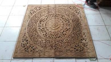 Aipj teak wood carving wall panels Bali flower