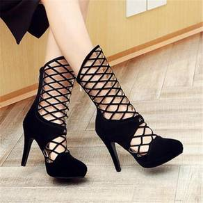 Black blue red gold silver party boots high heels