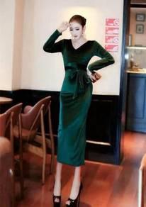 Green velvet long sleeve slit bodycon office dress
