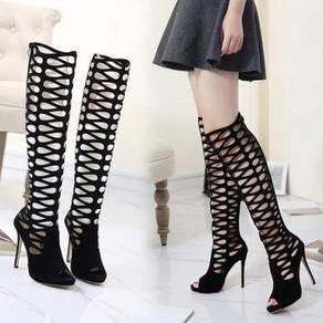 Black party boots high heels peep toe 12cm RBH0134