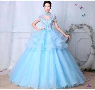 Blue princess wedding bridal prom dress RB0421