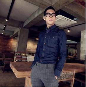 (546) Stylish Dark Blue Denim Long-Sleeved Shirt