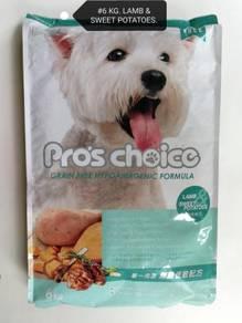 Pro's Choice 6kg Lamb Sweet Potato Dog Food Anjing