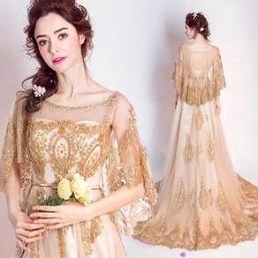 Gold cape shimmer wedding gown dress bridal prom