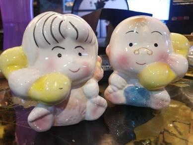 Cute Chinese boy girl porcelain coin box SLG