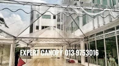 Canopy pyramid 20'x20' Transparent siap pasang