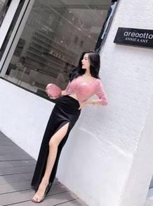 Grey pink cream black slit two piece top skirt