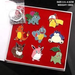 Pokemon pikachu keychain necklace set present gift