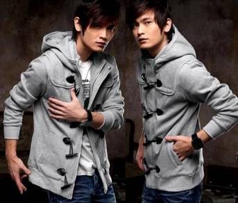0371 READY STOCK LIGHT GREY HOODiE SWEATER JACKET