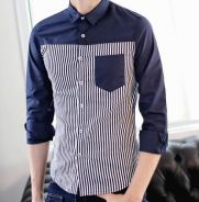 (511) Dark Blue Mixed Stripe Man Long-Sleeve Shirt