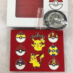 Pokemon Keychain Badge brooch necklace Ring set