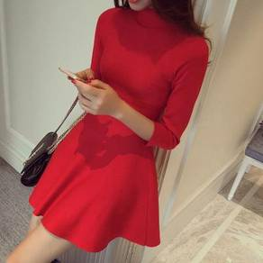 Premium quality red long sleeve knitted dress