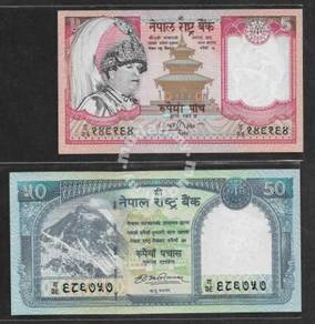 (LN 46) Nepal 5 Rupees & 50 Rupees - UNC