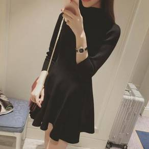 Premium quality black long sleeve knitted dress