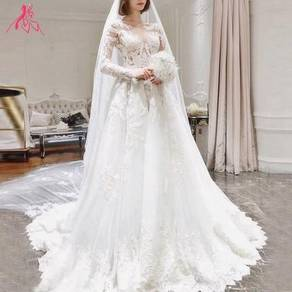 White long sleeve ruby lin wedding gown dress