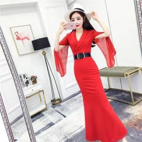 Black red long sleeve OL office formal dress