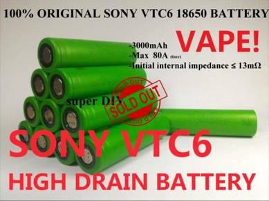 ORIGINAL Sony VTC6 18650 3.7V Vape Battery 3000mAh