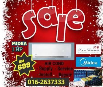 Super save 699*Penyaman udara midea Aircond 1hp