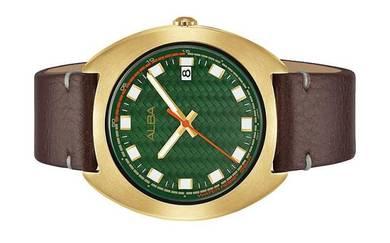 ALBA Men Date Brown Leather Watch VJ42-X301GRGL