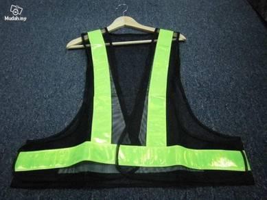 Road Safety Vest Black V Type With Reflective