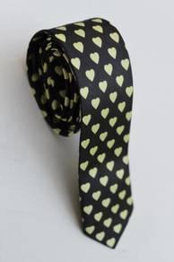 Yellow Love Black Striped Korean Slim Neck Tie