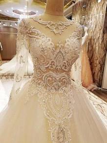 White Muslimah wedding bridal dress RB0212
