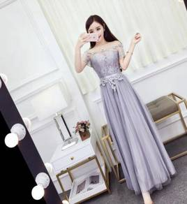 White grey pink prom wedding bridesmaid dress RBBD