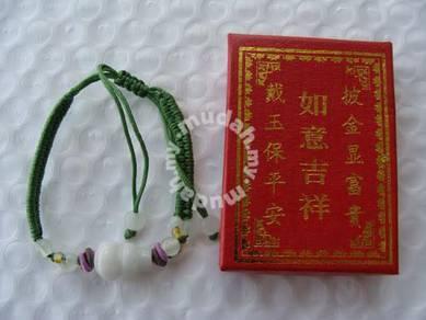 ABBJ-J103 Jade gourdshape bead bracelet Green Silk