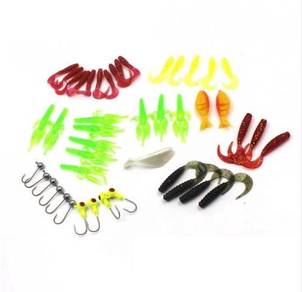 Soft Plastic Lure SP x 35 + 10 Jighead Set Fishing