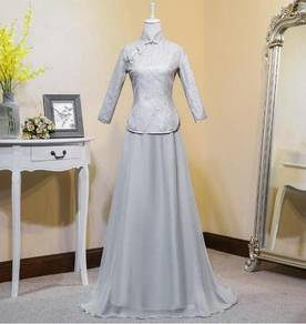 Pink grey cheongsam wedding bridesmaid dress
