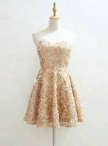 NEW premium mini dinner dress evening gown gold