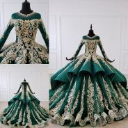 Gold green long sleeve wedding gown dress RB1581
