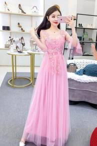 White grey pink prom wedding bridesmaid dress RBB