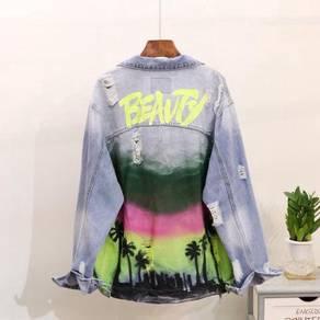 Ripped denim jeans jacket blue long sleeve RBT0052
