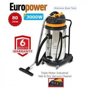 EuroPower VAC8003 3000W 80Liter Industrial Vacuum