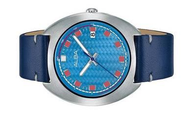 ALBA Men Date Blue Leather Watch VJ42-X301BLSL