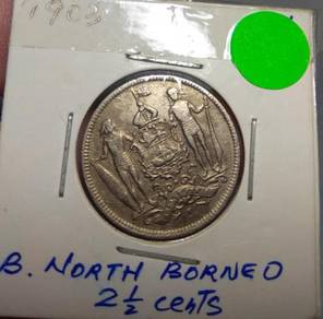 North Borneo ( Sabah) Old Coins 2 1/2 Cents 1903