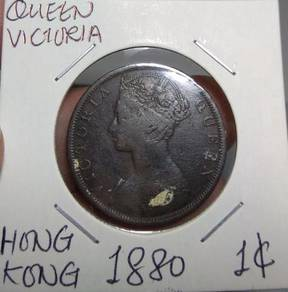 Hong Kong Queen Victoria Old Coins 1880 1 cent